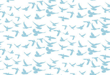 background with a pattern of flying birds on a white background