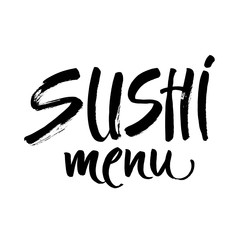 sushi menu calligraphy inscription on white label ink word sushu japanese food brush lettering vector