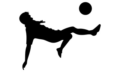 style silhouette image of the player in front of goal