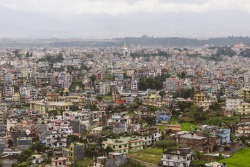 Panoramic aerial view on Kathmandu, Nepal.