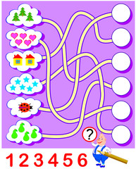 Logic exercise for children. Need to count the quantity of objects and write the numbers in corresponding circles. Vector cartoon image.