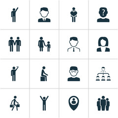 Human icons set with employee, rejoicing, team and other delivery person