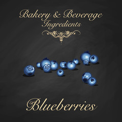 Bakery and beverage ingredients - blueberries. Scattered whole blueberries. Vector Illustration