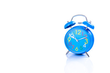 Blue Alarm clock on white background or isolated