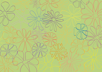 Spring, vector background. Springtime with hand drawn flowers, in green