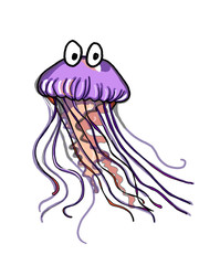 cute cartoon jellyfish sketch drawing