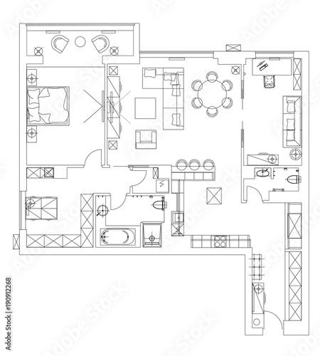 Standard Living Room Furniture Symbols Set Stock Image And