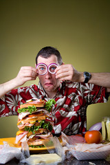 Sandwich: Man Wearing Onion Ring Glasses
