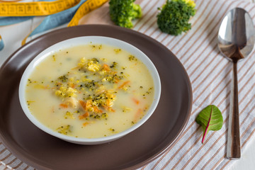 Vegetarian soup with broccoli and vegetables.
