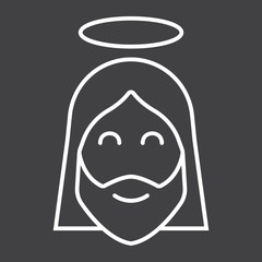 Jesus line icon, easter and holiday, christ sign vector graphics, a linear pattern on a black background, eps 10.