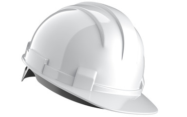 Side view of white construction helmet isolated on a white background. 3d rendering of engineering hat