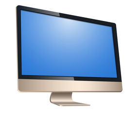 Golden computer, with a blank screen, left view front isolated on white background. To represent your application