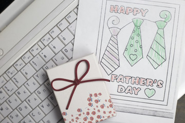 Fathers Day gift box and children's coloring with ties