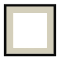 Black square frame with margin to put a photograph on white