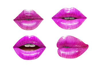 Purple sensual juicy lips collection. Mouth set isolated on white background. Vector lipstick or lip gloss 3d realistic illustration.