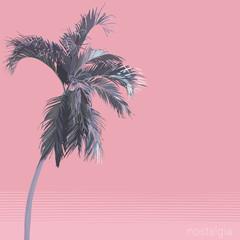 Vector flat style pastel pink palm tree. nostalgic\ emotion \ aesthetic feeling