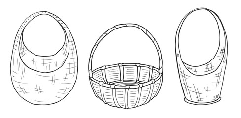 Sketches wicker baskets of different shapes. Freehand drawing with a marker. Sketch. Vector