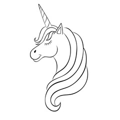Fairy-tale Unicorn, sketch for coloring book, fantasy concept.