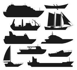 Sea ship silhouettes