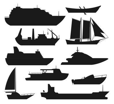 Sea ship silhouettes