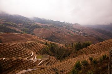 Rice terraces Longji lot of dazhai in China.