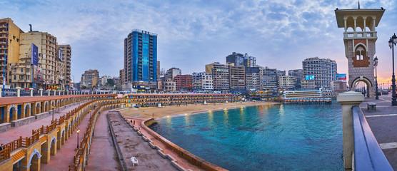 The beach in modern city, Alexandria, Egypt