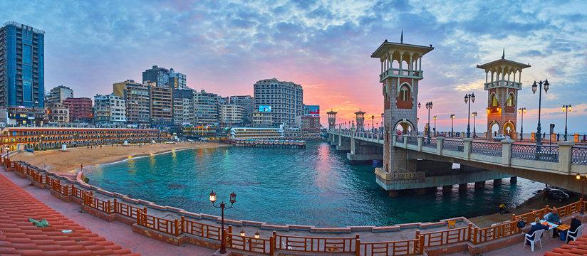 Evening walk in Stanley neighborhood, Alexandria, Egypt