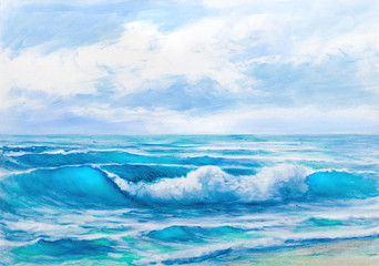 Oil  painting of the sea on canvas.Sketch.