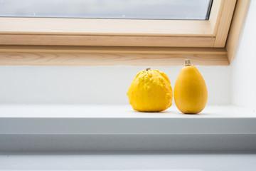 pumpkins on window sill