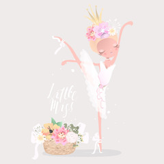 Beautiful ballet girl, ballerina with flowers, floral wreath, crown, bouquet, tied bows and romantic basket with flowers Little Miss lettering