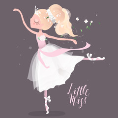 Beautiful ballet girl, ballerina in crown with flowers, floral wreath, bouquet and tied bows. Little Miss lettering