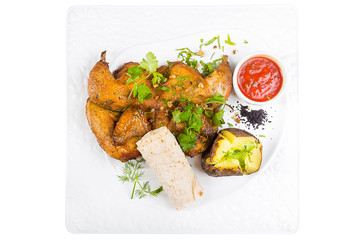 fried quail, chicken, chicken, pita bread, bread, hot red sauce, potatoes, fresh herbs, parsley isolated on white background