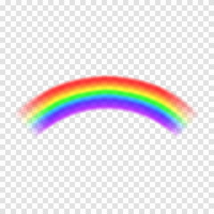Transparent vector rainbow isolated on background. Rainbow in arch shape. Fantasy concept, symbol of nature