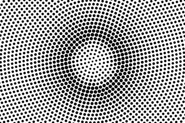 Black white dotted halftone. Half tone vector background. Grungy centered dotted gradient