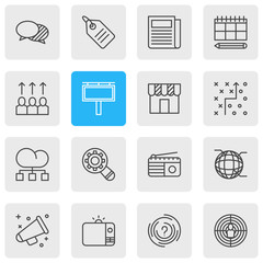 Vector illustration of 16 marketing icons line style. Editable set of tv, promotion, structure and other icon elements.