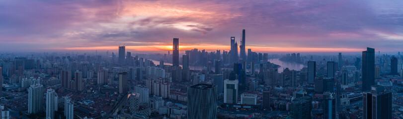 Aluminium Prints Blue sky Panoramic Aerial View of Shanghai Skyline at Sunrise. China.
