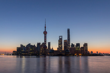 Panoramic Shanghai Skyline in the Morning. Lujiazui Financial District and Huangpu River. View from The Bund Embankment. China.
