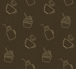 Seamless pattern with outline sweets.