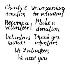 Set of hand drawn phrases about volunteering.