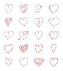 Cute heart doodles - collection of hand drawn hearts. Valentine's Day, Woman's Day and Mother's Day. Vector.