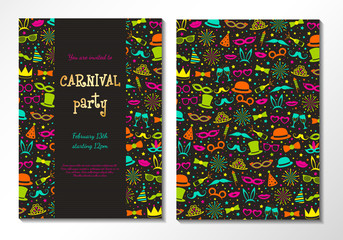 Concept of two sided poster for Carnival Party. Vector.