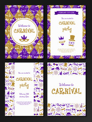 Carnival Party - big collection of invitations. Vector.