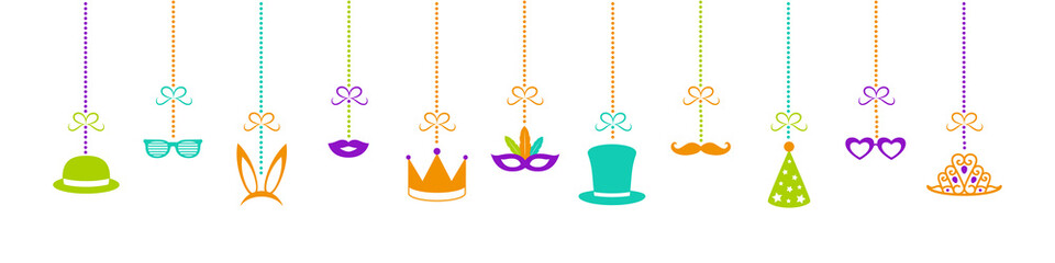Hanging Party elements - funny costumes. Panoramic header for carnival, party, birthday and photobooth. Vector.
