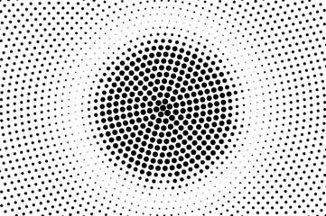Black white dotted halftone. Half tone vector background. Grungy rough circle dotted gradient.