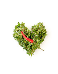 Heart of fresh thyme branches and chili pepper on a clean white background..