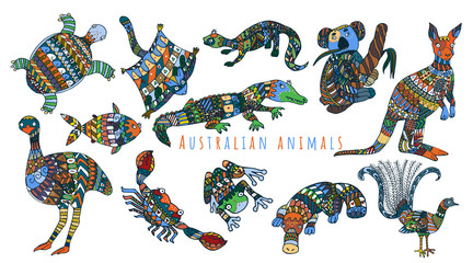 Colorful tribal set of australian animals. Cute stylized australian animals collection.