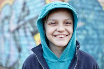 happy homeless boy