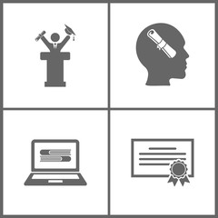 Vector Illustration Set Office Education Icons. Elements of Graduate standing near tribune, diplom in mind, ebooks and certificate
