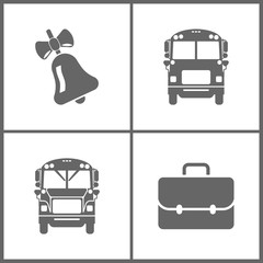 Vector Illustration Set Office Education Icons. Elements of bell, School Bus and Briefcase