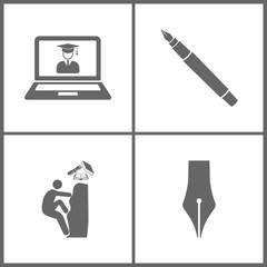 Vector Illustration Set Office Education Icons. Elements of virtual online education, Ink Pen, Climbing to the knowledge and ink pen